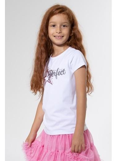 Colorinas Perfect Payetli Tshirt Kısa Kol Beyaz Beyaz